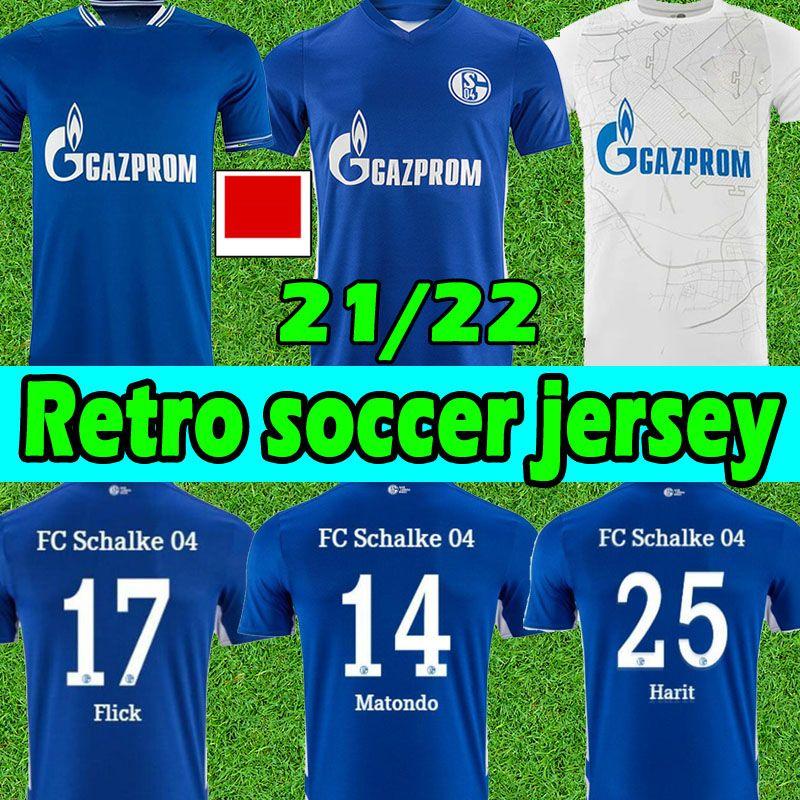 21/22 FC Schalke 04 Futbol Formaları 2021 2022 Huntelaar Uth Raman Hoppe Bentaleb Jersey Kutucu McKennie Erkekler Eve Uzakta Futbol Gömlek Tayland