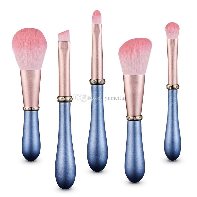 Wholesale Makeup Brush set Bulk Pink luxury Portable Cosmetic Tools Kits Blue pearlescent paint handle with bling diamond