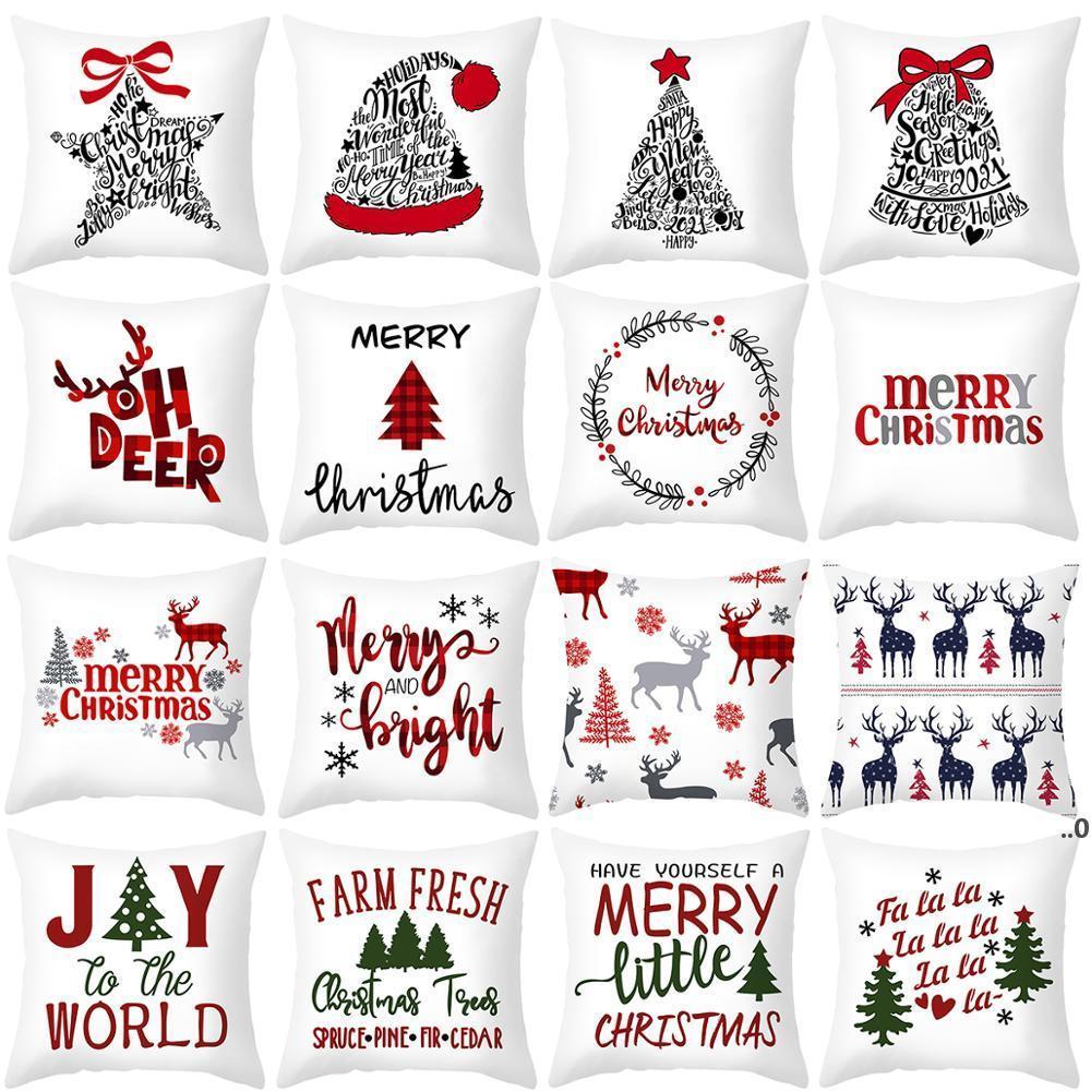 45x45cm Cartoon Santa Claus Elch Weihnachtskissenbezug 2021 Weihnachtsdekor für Zuhause Frohe Weihnachten Ornament Navidad Weihnachtsgeschenke FWF9065