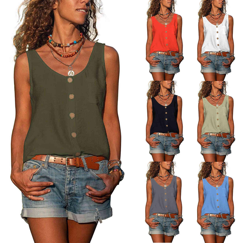 Botón de mujer Down sin mangas con cuello en V Top Scoop Camiseta Vestido Pocket suelto Verano Elegante Casual 2021 x0424
