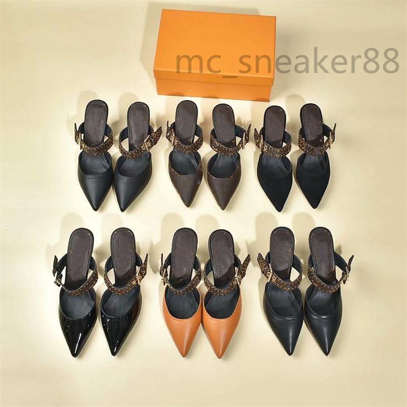 2021 designer frauen mules sandalen vintage spezierte bis halbe ziehen druck high heel casual luxus schuhe mit box größe 35-41
