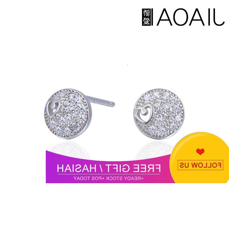 Accessori per l'orecchio temperamento della moda coreano S925 Silver Silver Inlaid Zircon Creative Round Hollow Small Love Orecchini