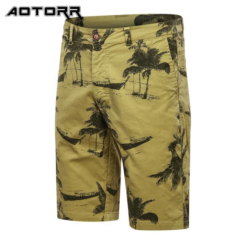 Fashion Men's Shorts Retro Impresso Cargo Clássico Militar Uniforme Algodão Casual Beach Calças Verão