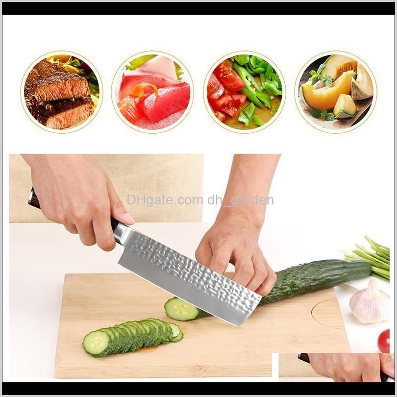 Zubehör Küche Essbar-Bar-Hausgarten-Drop-Lieferung 2021 Chef Edelstahl Damaskus Messer Holzgriff Schneiden Obst Gemüsefleisch