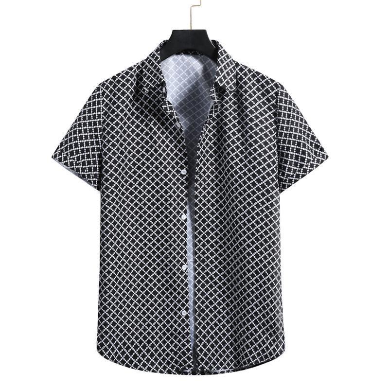 남성 의류 2021 정의되지 않은 남성용 빈티지 짧은 소매 하와이 해변 셔츠 버튼 턴 다운 칼라 격자 무늬 인쇄 캐미 사 캐주얼 셔츠