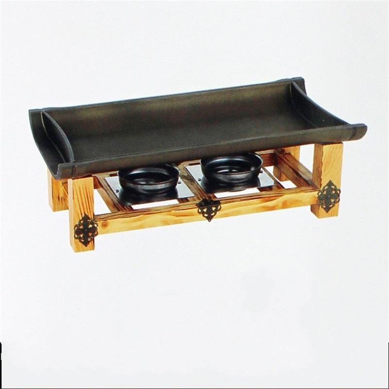 Nicht klebrige Grillplatten Pan Japanische Küche Bambusklappen Grill-Werkzeuge Aluminium-Slub-Keramik-Tafel-Tablett Meer Versand GWB7900