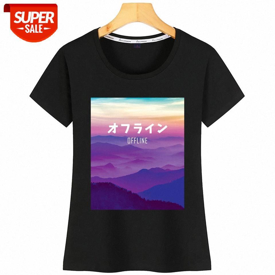 T-Shirt Donna Vaporwave Art per Cyber Punk Offline Kawaii Iscrizioni Camicia di cotone Party # EZ51