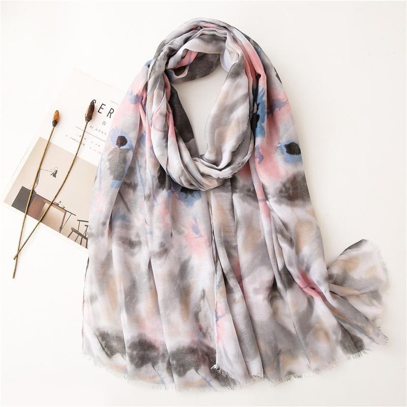 Women Fashion Ink Painting Floral Fringe Viscose Scarf Print Soft Shawls And Wraps Bufandas Muslim Hijab Sjaal 180*90Cm Scarves