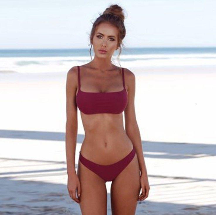 Traje de baño de bikini de 4 colores de acero recogido personalizado