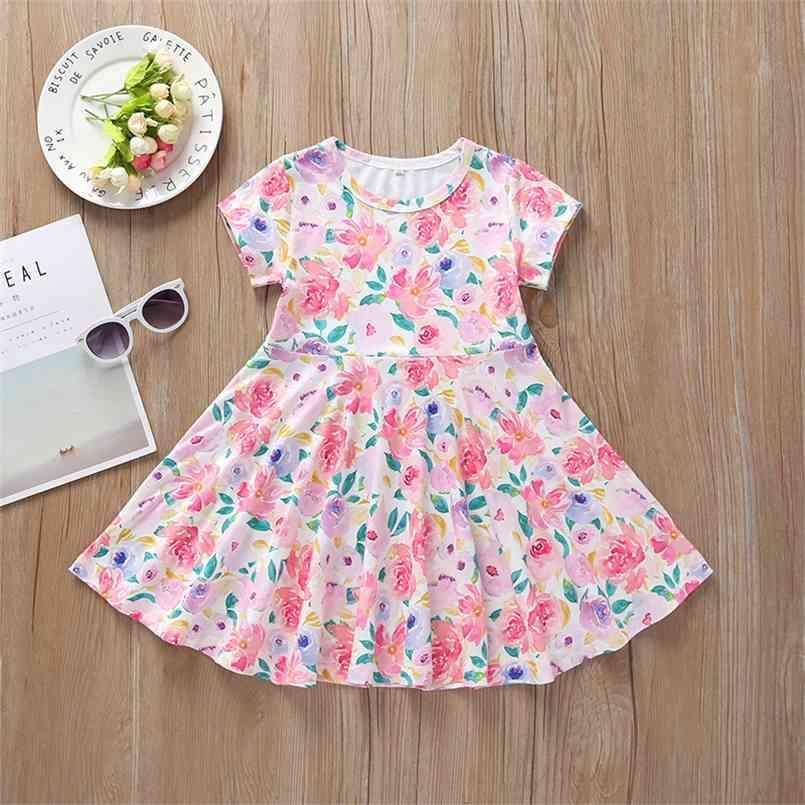 Le ragazze estive si vestono carino o collo stampa floreale blu rosa a-line vestidos 2-8T 210623