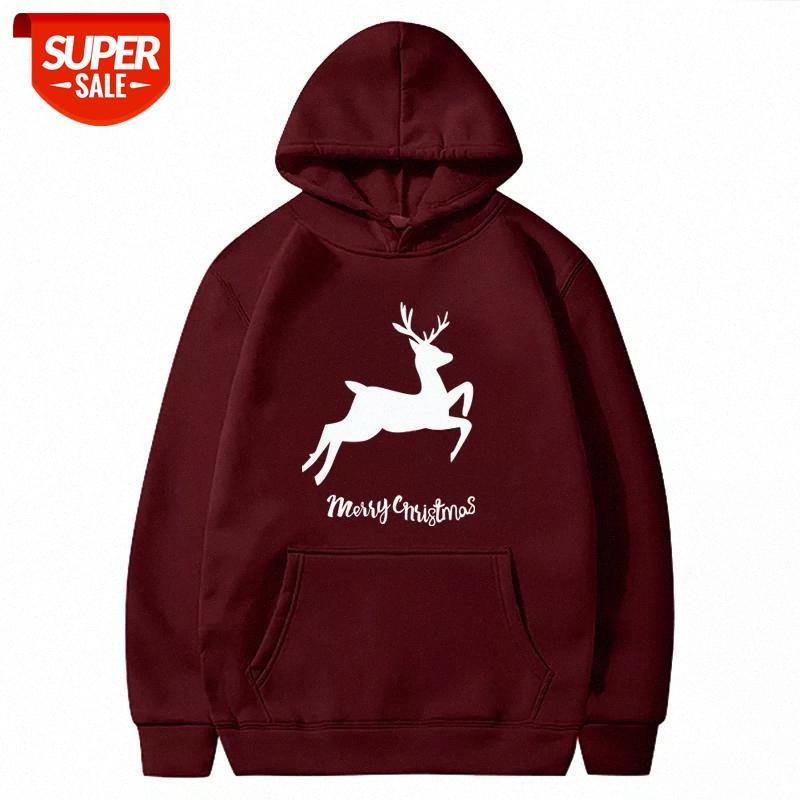 Hoodies Rena Merry Christmas Imprimindo Mulheres Gráfico Outono Inverno Com Capuz Sweatshirt Macio Longo Manga Longa Pullovers Feminino Festa # WB5L