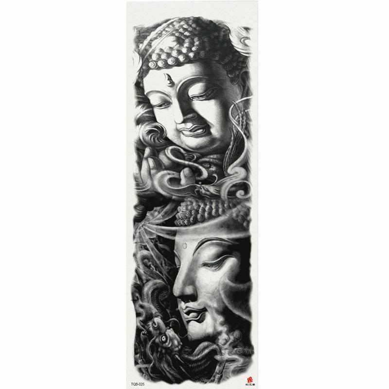 1 pièce Bouddhisme Autocollant de tatouage temporaire avec bras d'arbre Art Grand Sticker Fake Tattoo