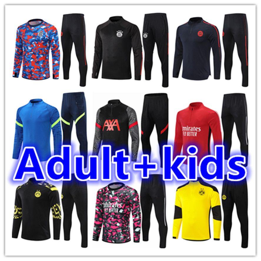 2021 2022 Mens + Kinder Trainingsanzug Fußball Trainingsanzüge Jersey Kits 21 22 Fussball Training Anzug Jogging Jacket Sets Chandal Futbol Überlebensfuß