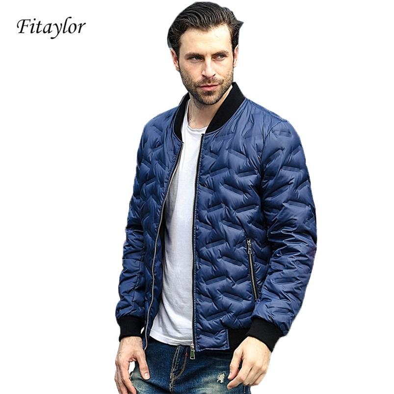 Kış Ultra Işık Ördek Aşağı Palto Erkekler Rahat Ceket Sıcak Parkas Standı Yaka Lettice Dış Giyim 210421