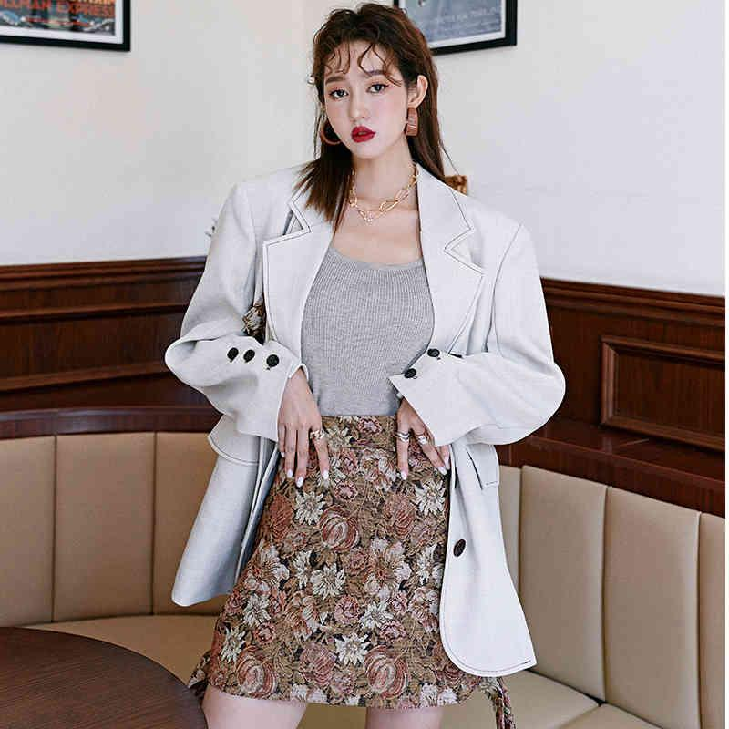 Retro Jacquard Autumn and Winter Thickened High Waist Short Print Loose All Match A-line Skirts 210421
