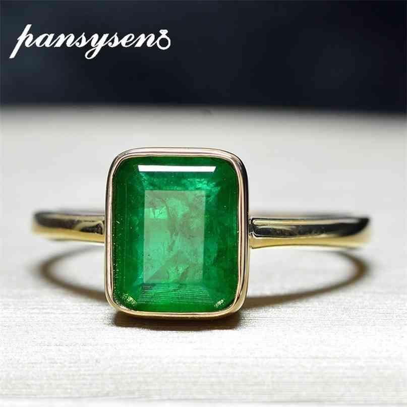 Pansysen Chegada Sólida 925 Esterlina Anéis de Prata para Mulheres 6x8mm Emerald Gemstone Partido Amarelo Cor de Ouro Fine Anel 210610