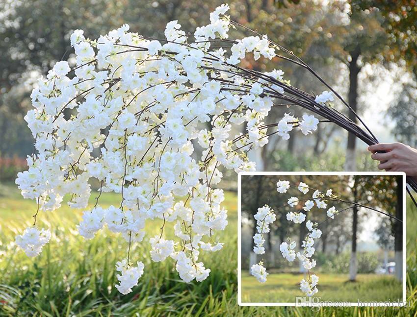 Falso Flor de Cerejeira Flor Filial Begonia Sakura Tree Haste 138cm Angoos Para Eventos Partido de Casamento Artificial Flores Decorativas Grinaldas