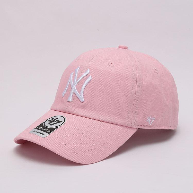 47Brand gorra de béisbol femenino verano rosa suave top ny bordado la curvada sombrero del estudiante del sol