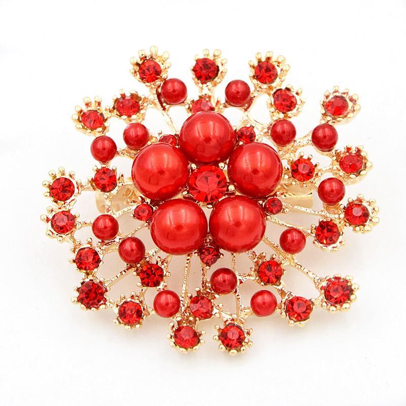 Alta calidad Faux Pearl And Crystals Popular Gold Snow Copo De Snow Copo De Lujo Cristales Checos De Lujo Hijab Wear Broach Pins 251 W2