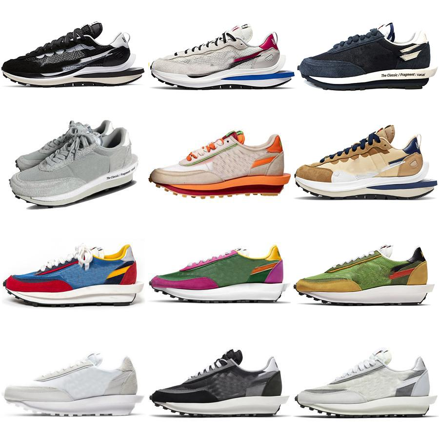 2021 Otantik Fragment SACAIS LDWAFFLE Clot Vaporwafle 2.0 LDV Ayakkabı Siyah Beyaz Yeşil Mavi Kırmızı Eğitmenler Erkekler Kadınlar Açık Spor Sneakers Orijinal Kutusu
