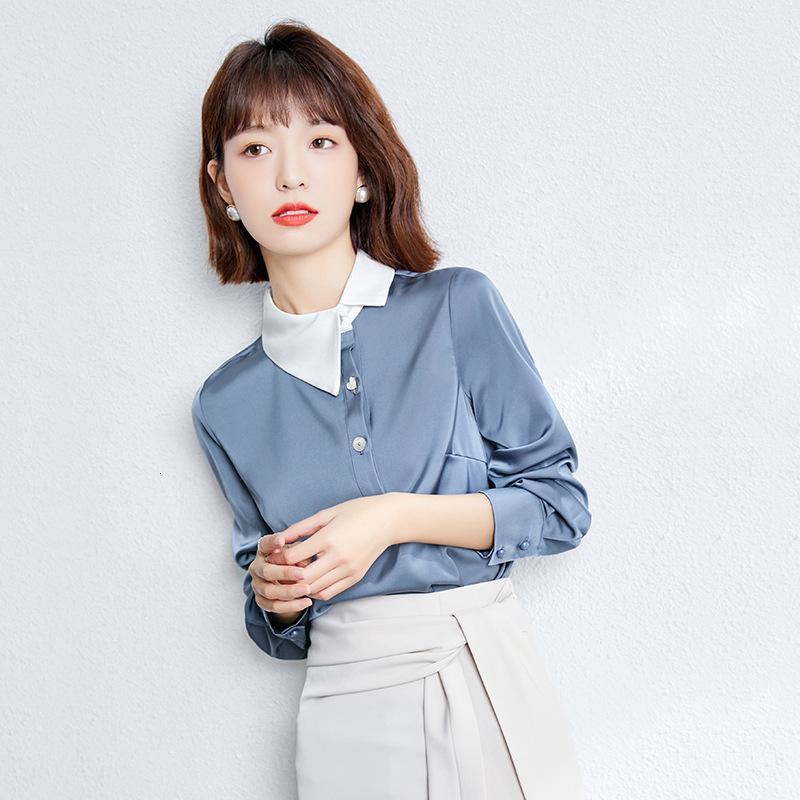 2021 camisa de satén de alta gama coreana de primavera
