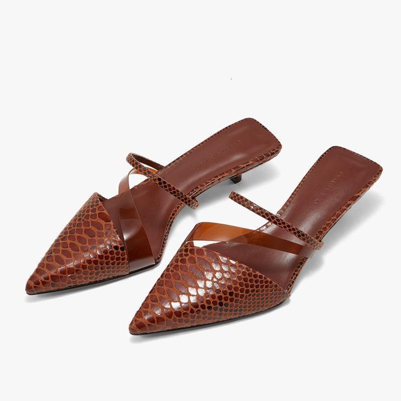 Terlikler Düşük Topuk Slaytlar Kadınlar Stiletto Yılan Deri Katır Ayakkabı Sivri Burun Açık Sandalet Üzerinde Kayma Lady Elbise JP97
