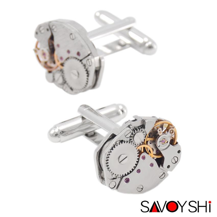 Classic Shirt Cufflinks for Men Brand High Quality Silver Mechanical Watch Movement Cuff Buttons Business Cufflinks Gift Jewelry