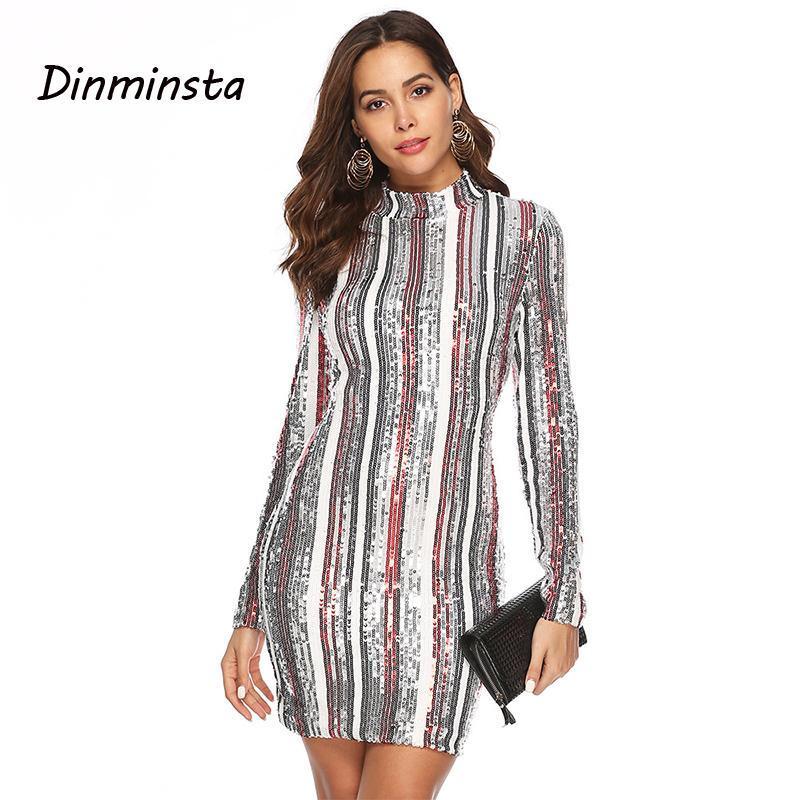 Günlük Elbiseler Dinminsta Kadınlar Pullu Uzun Kollu Balıkçı Yaka Avrupa Tarzı Sıska Kulübü Elbise 2021 Yaz Geometrik Çizgili Wrap Mini