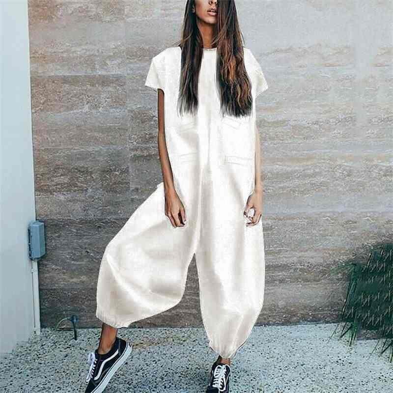 Weißer schwarzer Jumpsuit Elegante für Frauen boot cut Pants Kurzarm Weste Beunruhigte Famalhose Eleganz Lose Jumpsuits 210603
