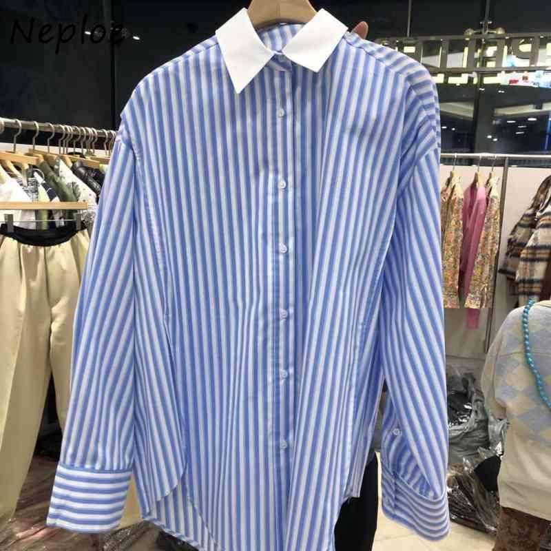 Neploe Dönüş Yaka Uzun Kollu Tek Meme Bluz Kadın Çizgili Pachwork Çalışma Stili OL Blusas Bahar Yeni Gömlek 210421
