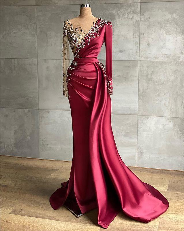 Arabic Aso Ebi Burgundy Mermaid Evening Dresses Beaded Crystals Prom Dresses Sheer Neck Formal Party Second Reception gown