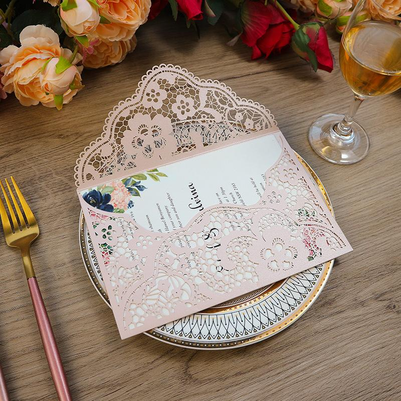 Pink Lace Flower Wedding Invitation With Envelope DIY Fold Personalized Print Greeting Cards For Bridal Shower Quinceanera Party