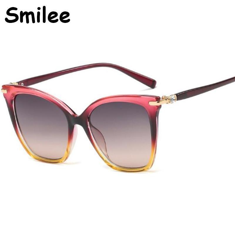 Gafas de sol Ojo elegante Gafas de sol Rhinstone Gafas de sol para mujer Negro Rosa Marrón Big Shades Lunette de Soleil