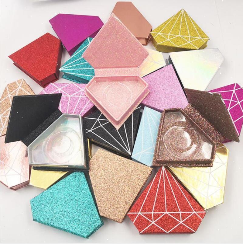 Marble Empty Eyelash Package Box Cardboard Magnetic Packaging 100 Pairs Diamond False Lashes Cases Makeup Case Eyelashes