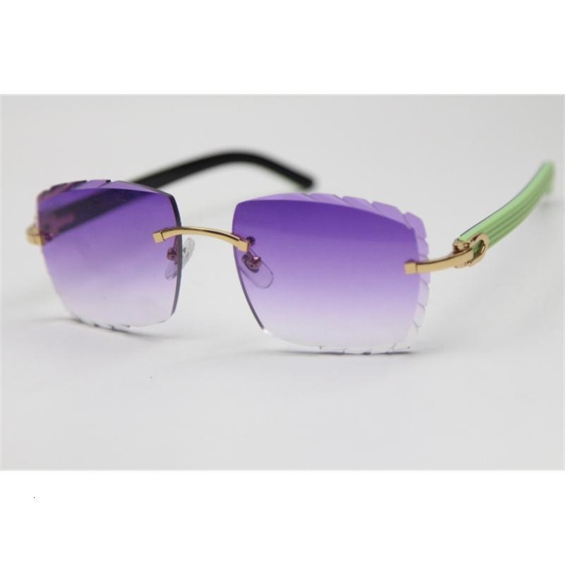 النظارات الشمسية المرأة بدون شفة منحوتة عدسة البصرية الأخضر مزيج الأسود لوح للجنسين الأزياء نظارات الأرجواني البني الذهب المعادن الإطار XP23