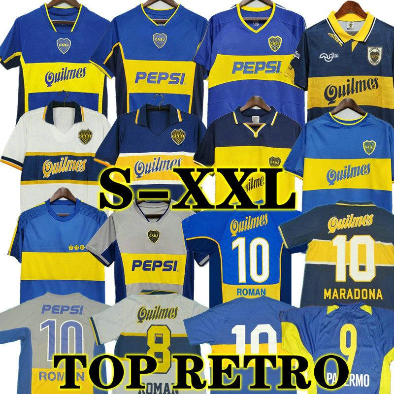 97 98 Boca Juniors Retro 1981 Fussball Jersey Maradona Roman Gago 99 Fußballhemd Classic 2001 2002 2005 Camiseta Futbol Vintage 81 Riquelme