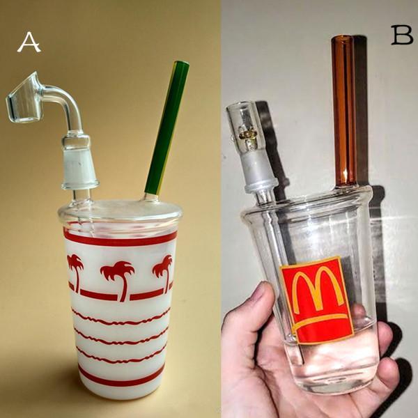 8 인치 높이 물 담뱃대 두 스타일 컵 모양 유리 봉속 다운 시스템 흡연 레일러 dab rigs 물 파이프 14.4 mm 남성