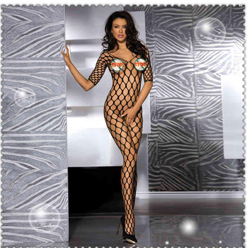 Sexy Sexy Underwear, Transparent and Stockings, Black Large Net Hollow Out No Take Off One-piece Stockings