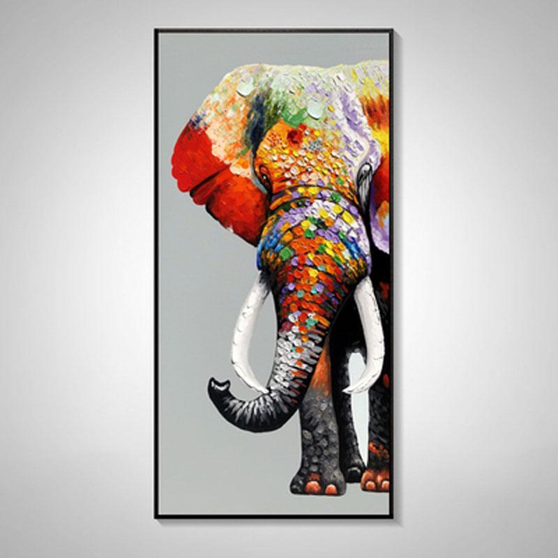 Peinture à la main peinture à l'huile peinture d'éléphant animal suspendu moderne entrée simple porche salon décoratif couloir vertical