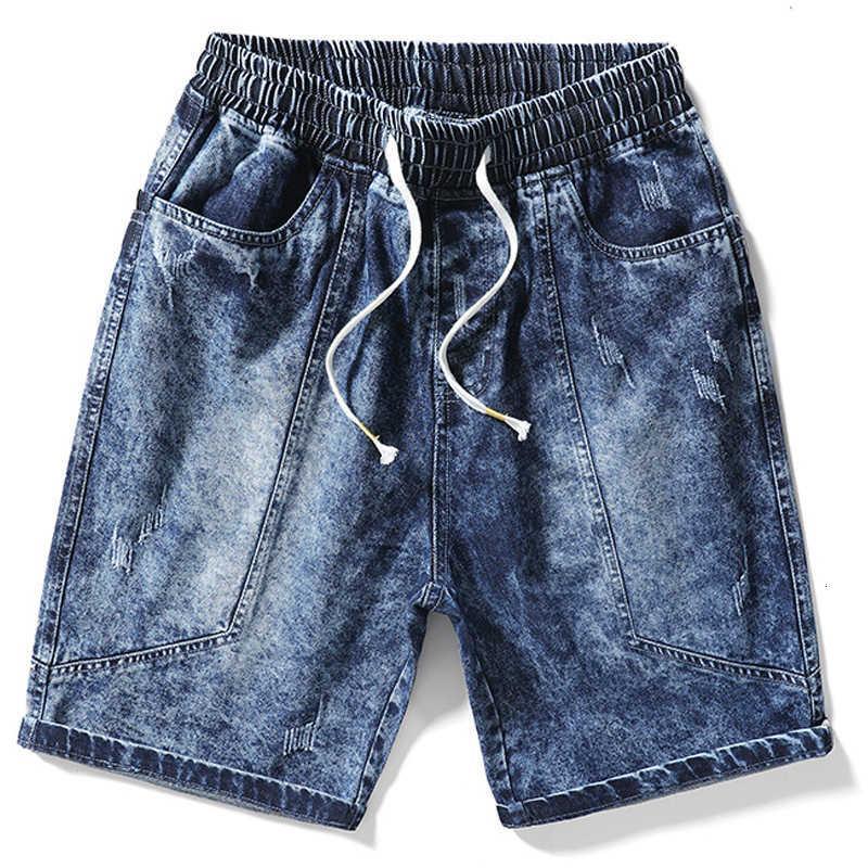 Denim shorts men's jeans baggy outspread Capris trend brand plus size fat middle pants breeches summer thin