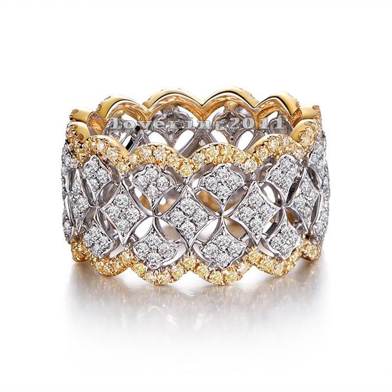 Size 5-10 Stunning Luxury Jewelry 925 Sterling Silver&Gold Fill Pave White Sapphire CZ Diamond Women Wedding Bridal Ring Gift