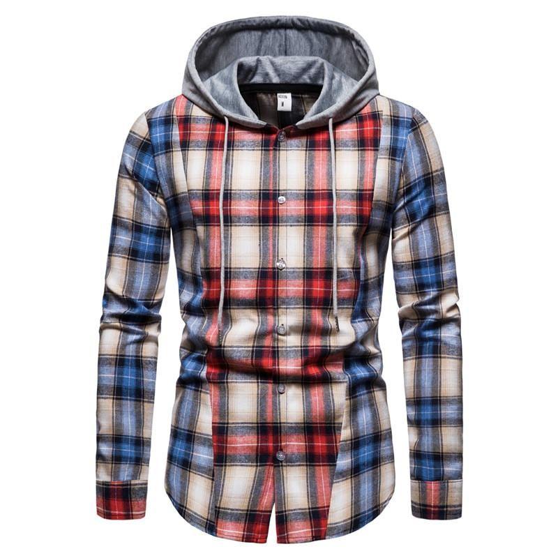 봄 가을 후드 셔츠 남자 격자 무늬 셔츠 패션 힙합 높은 거리 패치 워크 긴 소매 남자 캐주얼