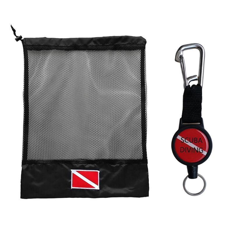 Accessoires de piscine Scuba Diving Engrenage Récupérateur Rétracteur Titulaire de pince rétractable Sac à mailles Crochet pour sports nautiques