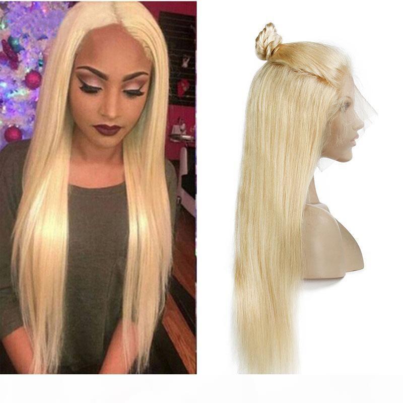 Pelucas de pelo humano de encaje completo de encaje de miel brasileño con cabello bebé coloreado 613 # pelucas frontales rubias rubias rectas para mujeres negras