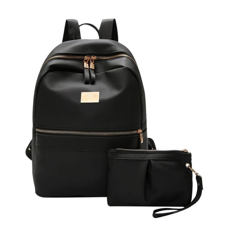 Рюкзак 2 шт. / Комплект мода женщин установить черный с небольшим подростком девушки из искусственной школы кожаные женские ежедневные поездки