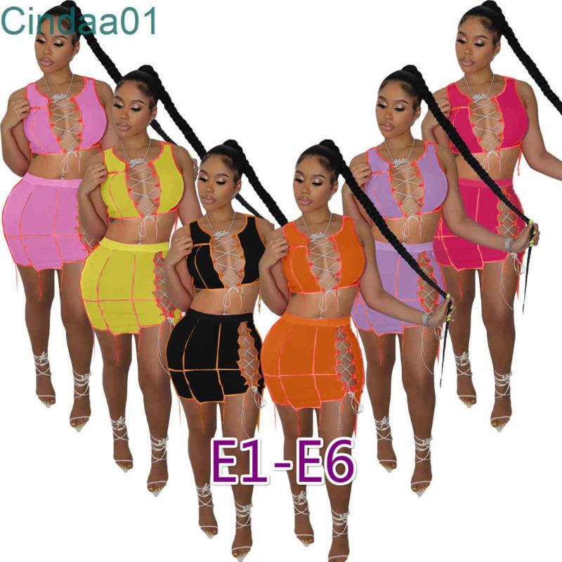 Kadın Elbiseler Tasarımcı Iki Parça Set Yaz Seksi Plaj Giyim Baskı Mektubu Kolsuz Ince Gece Kulübü Giymek Kırpma Üst Mini Etek Takım Elbise