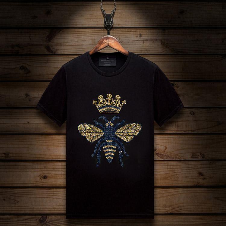 2021 여름 패션 캐주얼 망 디자이너 티셔츠 반팔 동물 탑 판매 라인 석 T- 셔츠 슬림 크루 넥 블랙 티셔츠