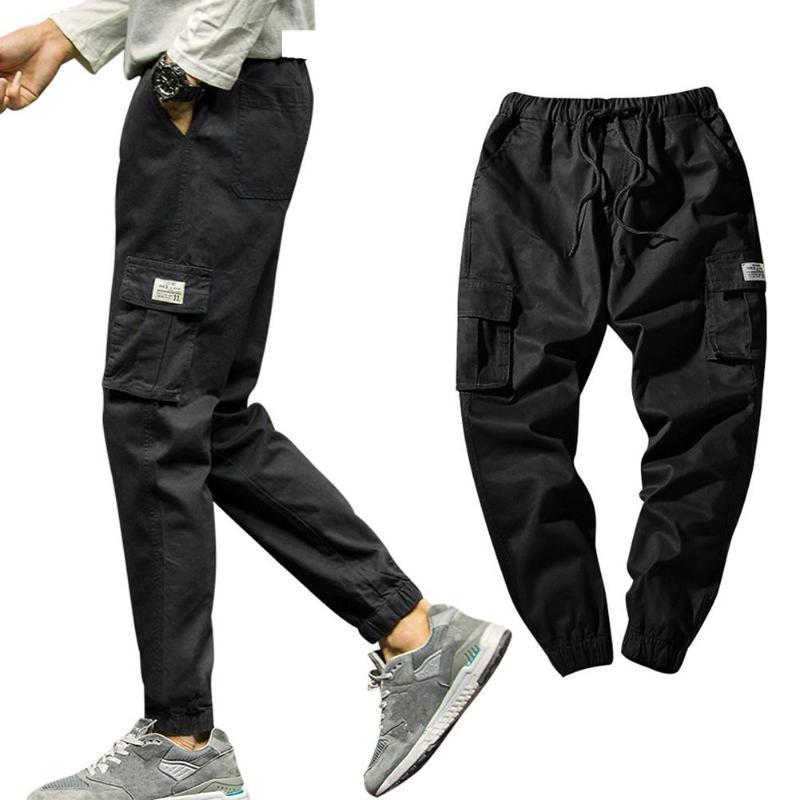 Pantalones de carga de bolsillo lateral para hombres 2021 Streetwear Man Casual Harem Plus Tamaño Hombres Joggers Pantalones M-5XL