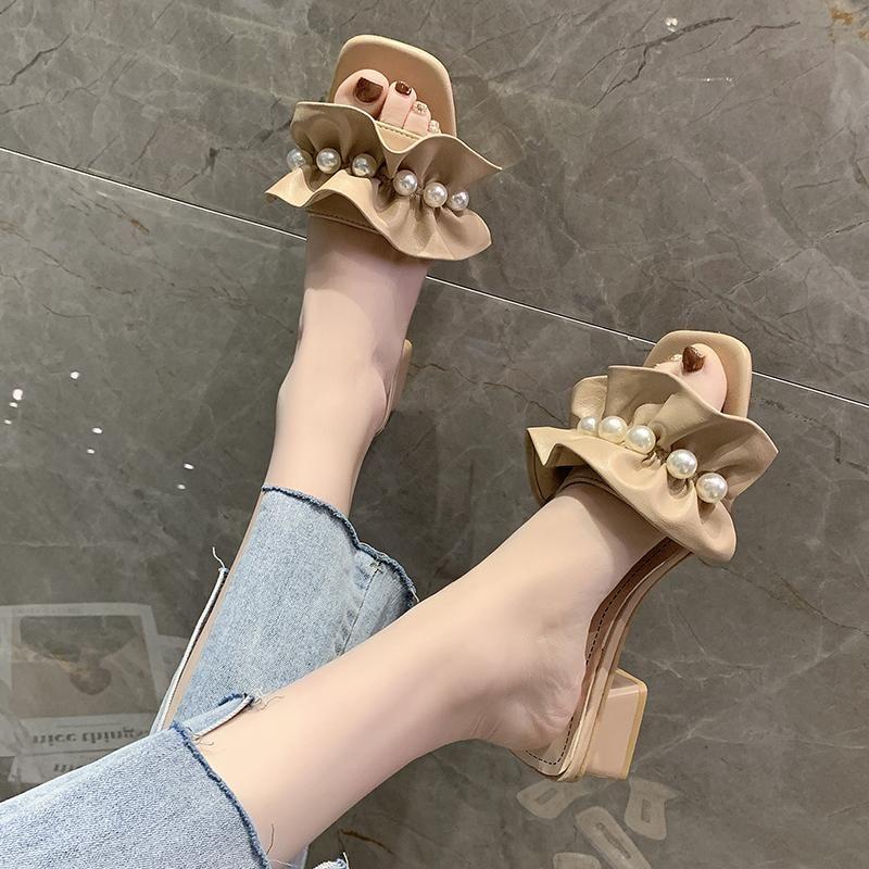 Terlik Casual Med Ayakkabı Kare Topuk Kadın Topuklu Slaytlar Pantofle Lüks Blok Yumuşak Yaz Yüksek 2021 Skandallar Roma Pompaları Kauçuk