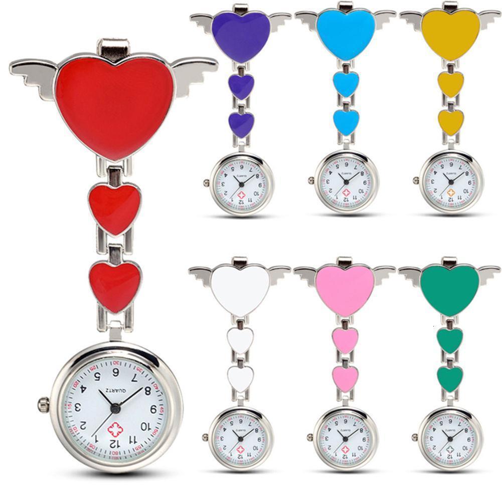 Femmes aiment heart-ailes quartz clip broche FOB suspendue montre de poche suspendue